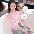 Elegant Autumn / Fall Women Short Cardigans Long Sleeve Knitted Sweater Cape And Ponchoes O neck lady Coat Outwear C690511H