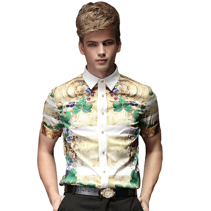 a1a7f8e6ae1e Aliexpress.com   Buy FANZHUAN Summer Floral Print Men Shirts Short Sleeve  Mens Casual Shirt Slim Men Dress Shirts Floral Tuxedo Shirt Costumes from  Reliable ...