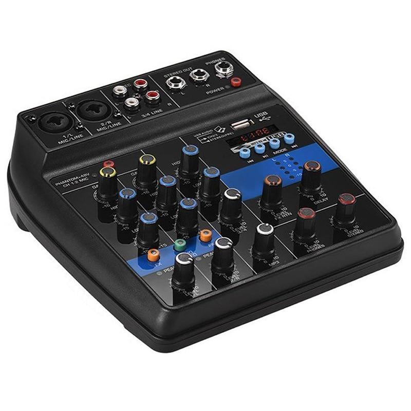 Portátil 4 Canais Usb Mini Amplificador Mixer de Áudio Do Console De Mixagem De Som Bluetooth 48 V Phantom Power Para Karaoke Ktv Jogo parte