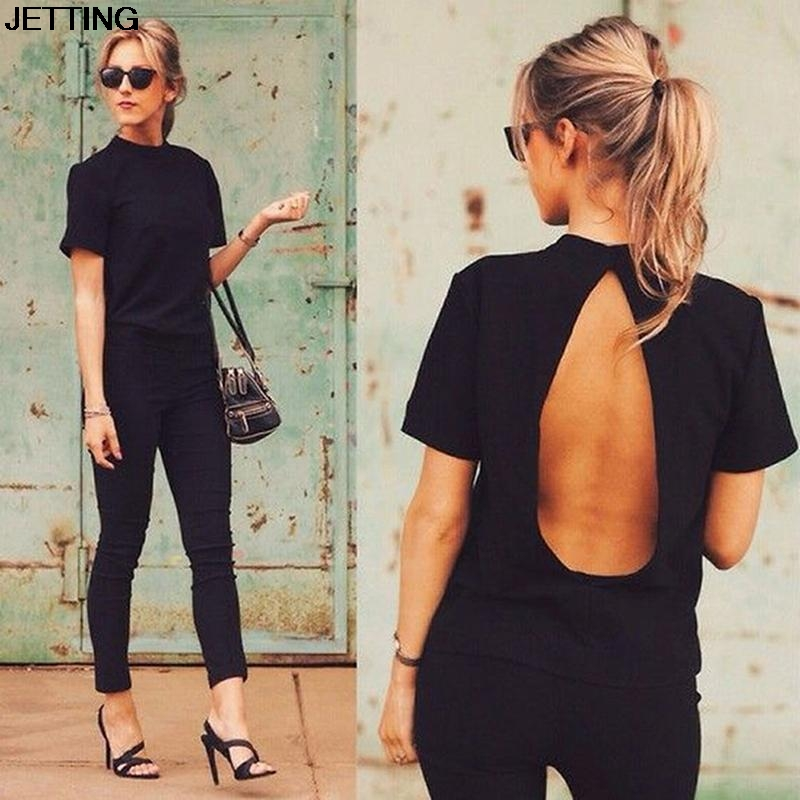 2016 new arrival summer sexy backless shirt turtleneck short sleeve t shirt women slim body shirt