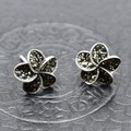 S925 Silver Marcasite Flower Earrings Sterling Silver earrings wholesale silver S925 fashion accessories wholesale