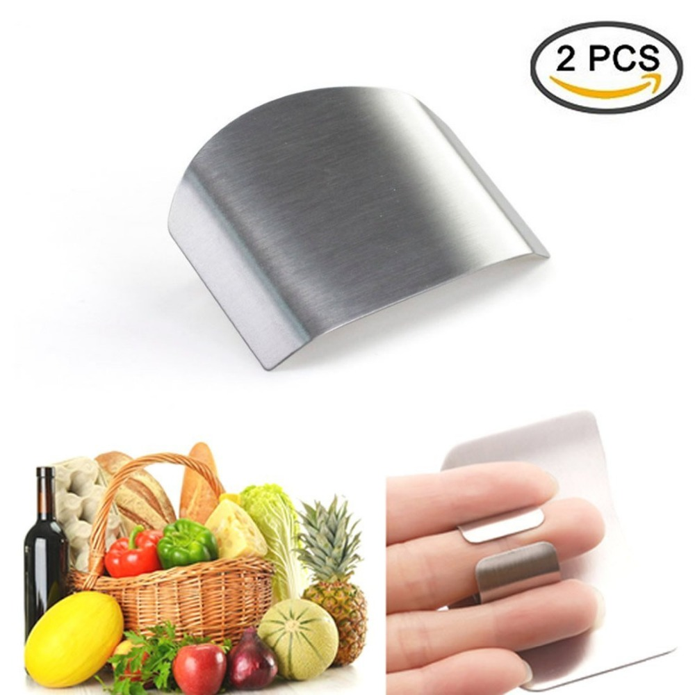 2 pcs Stainless Steel Finger Guard,Finger Protector Hand Guard Avoid Hurting When Slicing and Dicing, Kitchen Safe Chop Cut Tool
