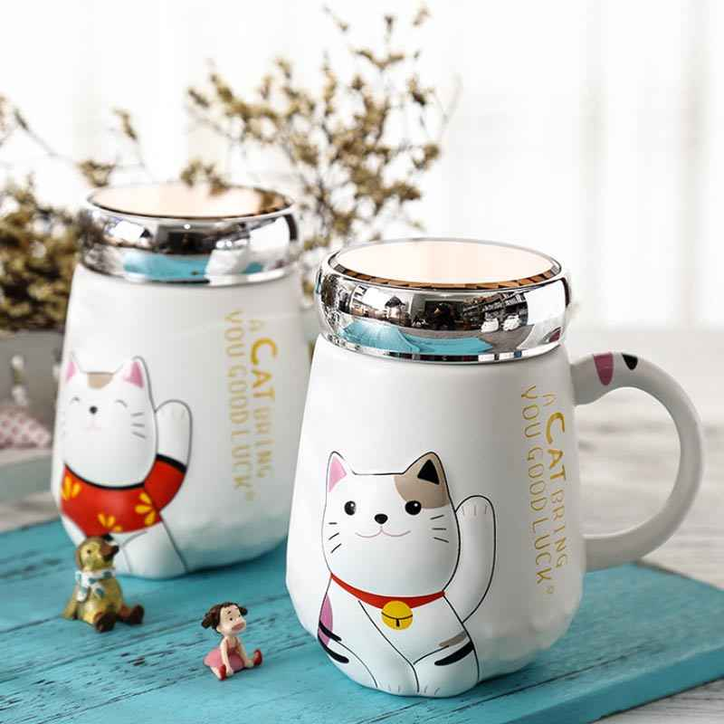 500ml Cartoon Cat Heat-resistant Cup Color Cartoon With Lid Cup Kitten Milk Coffee Ceramic Mug Children Cups Office Summer Gifts