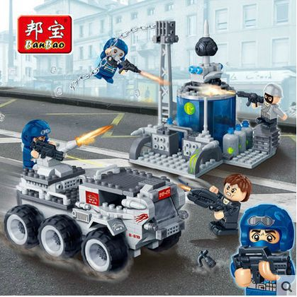 Banbao 6209 Super Police police center car 328 pcs Plastic Building Block Sets Educational DIY Bricks Toys for children
