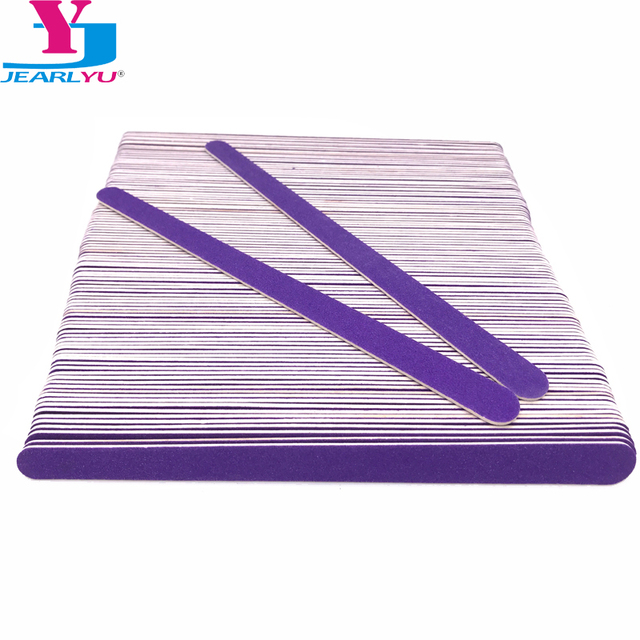 New Double Head Wooden Nail Files 200 pcs/lot Purple Wood Sandpaper Polisher Machine Lixas De Unha Vijlen Nails Files Tools Kit