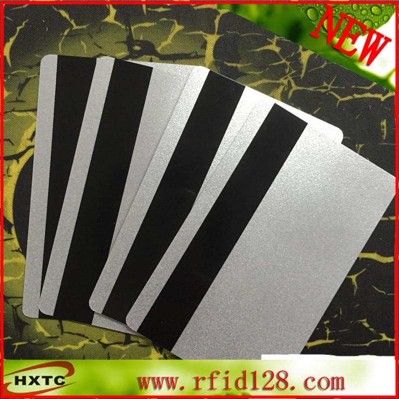 200PCS/Lot CR80 EMV Hi-CO MagStrip PVC Blank Cards Magnetic Card Silver smart Card for Fargo hiti datacard id card printer 200pcs lot customable 8 4mm mag stripe 2 track pvc smart card