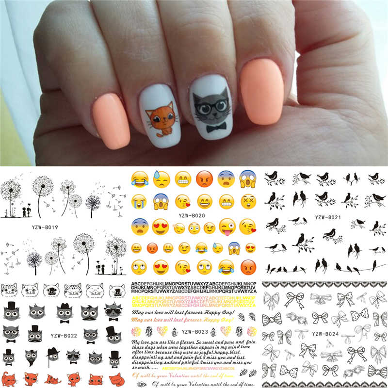 6 Sheets/Lot Mixed Bird Cat Dandelion Face Emoji etc Designs Water Transfer Nails Art Sticker Nail Wrap Decals 2019 Nails Decor