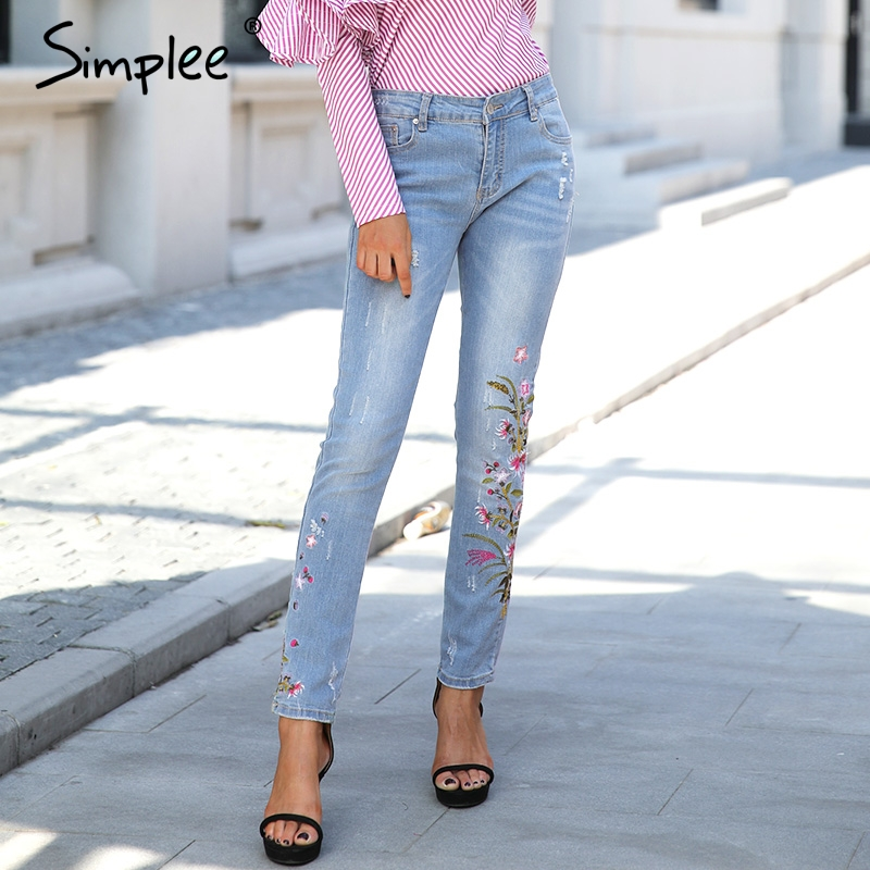 Simplee Casual floral embroidery jeans female Vintage streatwear pockets straight woman jeans 2017 Summer basic trousers jeans flower embroidery jeans female blue casual pants capris 2017 spring summer pockets straight jeans women bottom a46