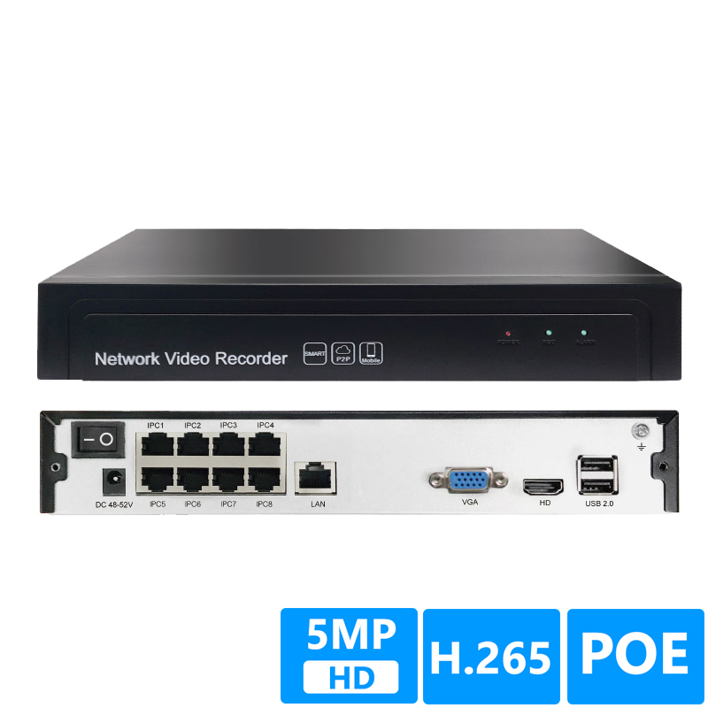 8CH 5MP POE 1 SATA NVR H.265+/H.265/H.264 CCTV UP to 16ch 5.0MP Network Video Recorder Onvif 2.6 IP Camera P2P AEeye2.08CH 5MP POE 1 SATA NVR H.265+/H.265/H.264 CCTV UP to 16ch 5.0MP Network Video Recorder Onvif 2.6 IP Camera P2P AEeye2.0
