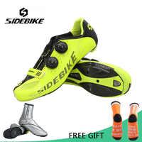 Verkaufs-sidebike Road Radfahren Schuhe Männer Carbon Fiber Bike Schuhe Self-Locking Atmungsaktive Ultraleicht Fahrrad Schuhe Athletisch Turnschuhe