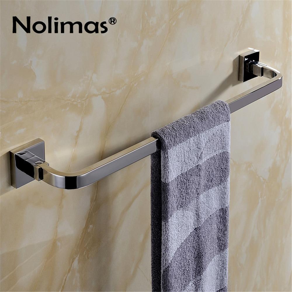 SUS 304 Stainless Steel Single Towel Bar Square Mirror Polished Towel Rack Bathroom Wall Mounted Towel Holder