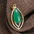 Charms green jade chalcedony teardrop drop pendant gold plated jewelry making 18*32mm fit diy long chain necklace women B1858