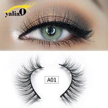 YALIAO 3D Mink Eyelashes Plastic Cotton Stalk Natural Long Thick Lashes Makeup False Eyelash Extension For Beauty