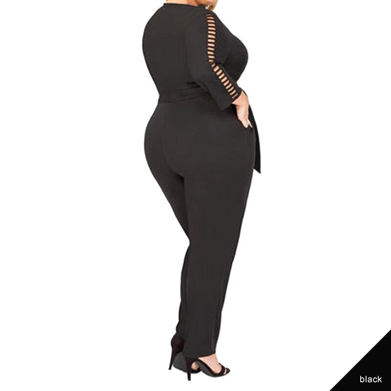 6055ccd97d601 Pink Queen Women Plus Size Jumpsuits Long Sleeve Deep V Neck Office Wear  Black White Clothes Body Women Romper Jumpsuit Long