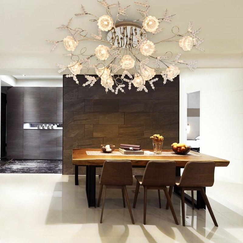 Z Luxusní romantické křišťálové stropní svítidlo Evropské LED dálkové ovládání G4 Osvětlení Ložnice Restaurace Obývací pokoj Květinový lustr