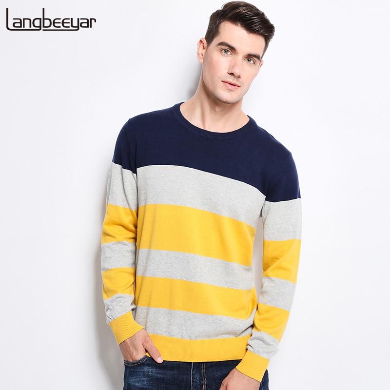 Новый осень-зима брендовая одежда свитер Для мужчин тенденции моды Stripe Slim Fit Зимний пуловер Для мужчин 100% хлопковый вязаный свитер Для мужчин