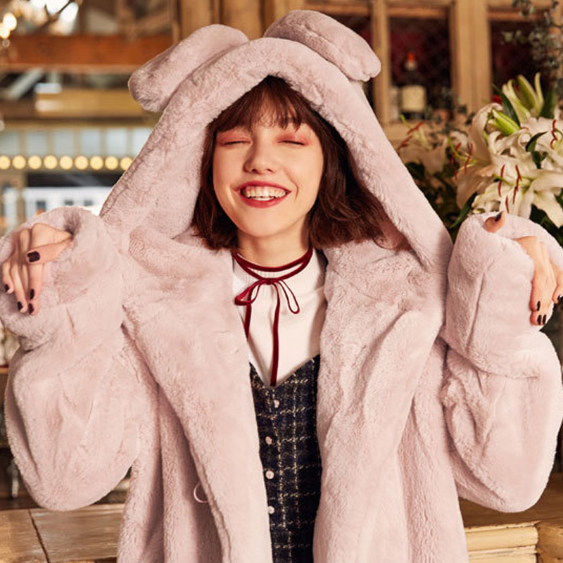 318a7711f18 Naiveroo Winter Women Faux Fox Fur Hooded Thick Coat Long Sleeve With Cat  Ears Hood Fur Thicken Outwear Jackets Coat Plus Size