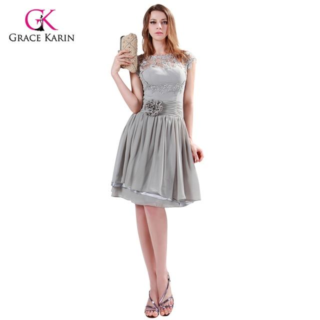 0ba8f8c5a Grace karin marca cinza vestidos de noite curtos mulheres o-neck oco out  lace flor