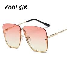 COOLSIR Vintage Half Frame Sunglasses Women Fashion Men Oversize Alloy Square Sun Glasses Shades UV400 Eyeglasses