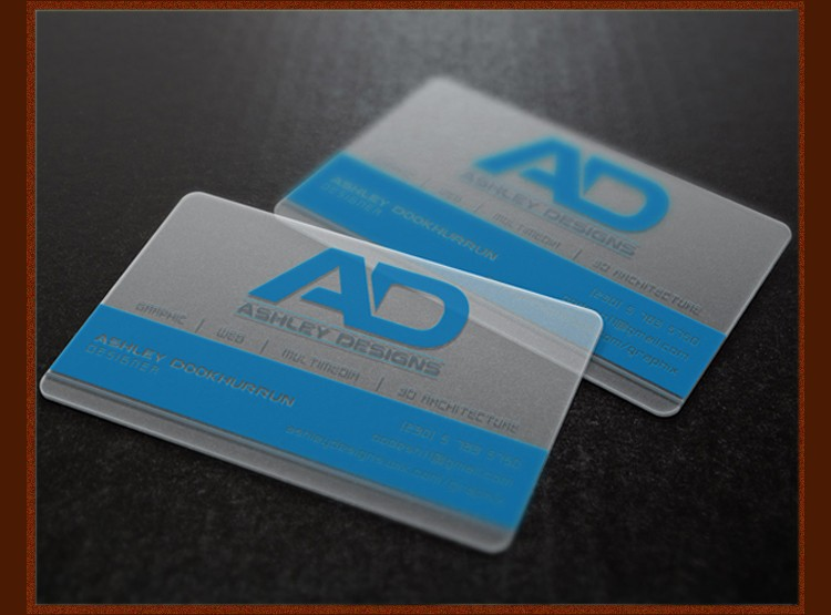200 pcs One faced CMYK printing transparent pvc business card in calendars, planners & cards
