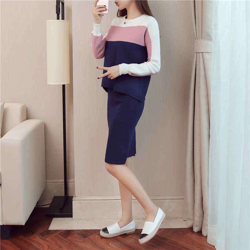 Maxdiroo Korea Women Sweat Suits Women Sweater Top and Skirt Suit Set Striped Color Women Set chandal mujer completo 2 piezas