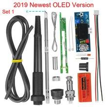 전기 장치 디지털 납땜 인두 스테이션 온도 컨트롤러 DIY 키트 HAKKO T12 핸들 OLED 진동 스위치 T12 952