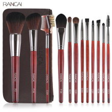 Hot 12Pcs/set Redwood Pro Makeup Brush Set Brushes Powder Eyeshadow Foundation Eyebrow Cosmetic Tools With Bag