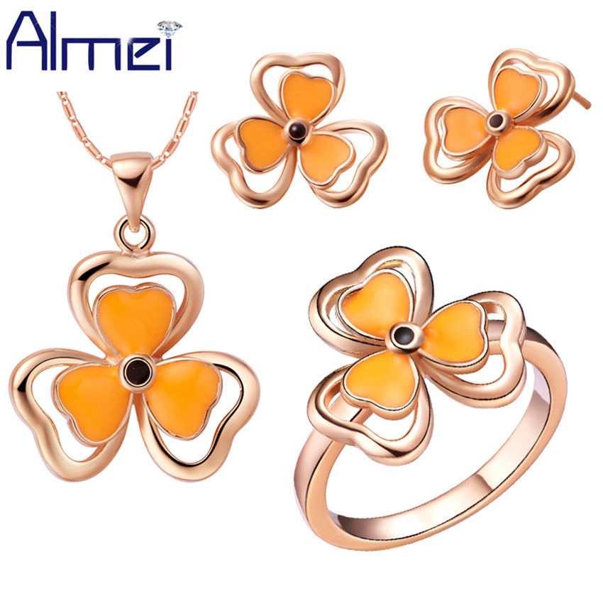 Almei Yellow Jewelry Set Love Silver Necklace Sets for Women Rose White Gold Color Flower Wedding Earrings Cheap Ring T282