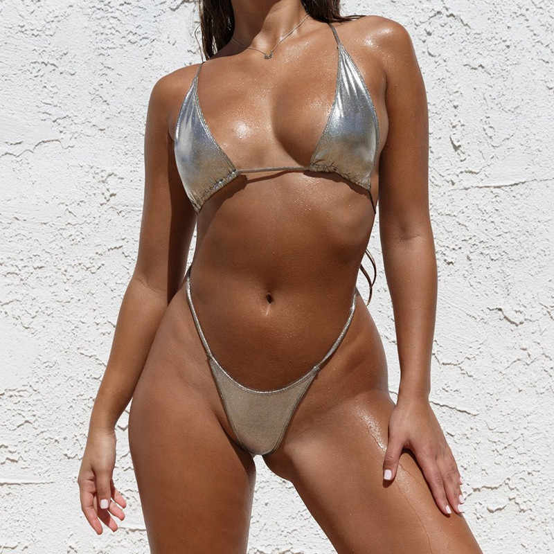 Mới 2019 Một Mảnh Nữ G Dây Sáng Bóng Đồ Bơi Nữ Micro Thông Monokini Bather Hở Lưng Áo Tắm Bơi Mặc
