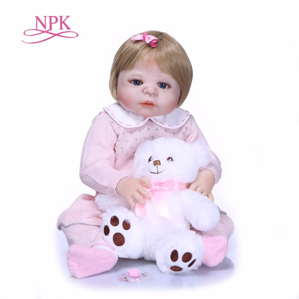NPK 55cm Newarrival doll Realistic Full Silicone Reborn Baby Doll For Sale Lifelike Baby Alive Dolls Kids Playmate Xmas Gifts цены