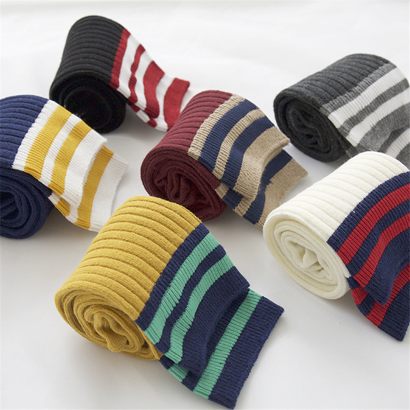 New Spring Summer Women Stripes Cotton   Socks   Retro Old School Hiphop Skateboard Long Short Meias Harajuku Solid Color   Socks