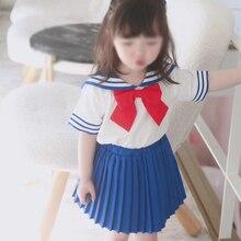아이 아기 유아 소녀 선원 문 할로윈 코스프레 의상 일본 학교 제복 양복 Tshirt 미니 Pleated 치마 로리타 드레스