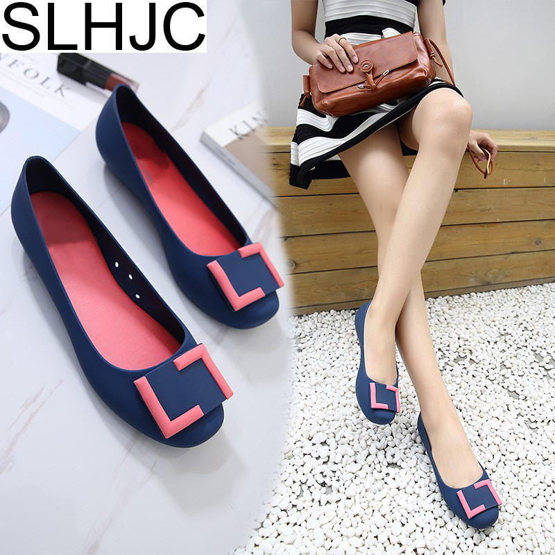 SLHJC  Summer Jelly Shoes 2018 Sweet Shallow Mouth Comfortable Flat Heel Wide Foot Sandals Women Slip Resistance Rain Shoes