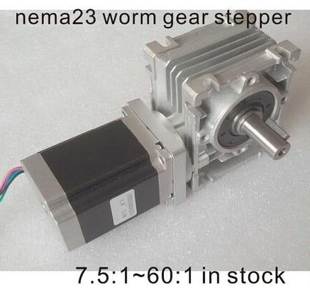 2pcs/lot NEMA23 Worm Gear Stepper Motor 250oz-in Motor Length 76mm CE ROHS Nema 23 Gear Stepper Motor Worm Reducer