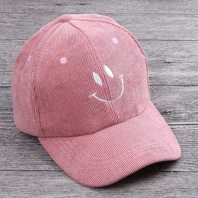 5d3d3133 Autumn Kid Corduroy Panel Baseball Cap with Embroidery Emoji 2-5 year Boy  Girl Curved Snap back Hats Dusty Pink Gray Black Brown