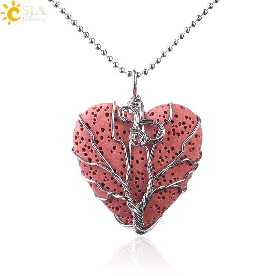 CSJA Natural Lava Stone Necklace Volcanic Rock Heart Shape Wire Wrapped Tree of Life Pendant Necklaces Valentine's D Gift F471