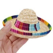 Transer Multicolor Briad Palha Mexicano Sombrero Chapéu Animal de Estimação  Do Gato Do Cão Fivela Ajustável 14bea4b2547