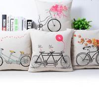 Customized 2017 New Hot Nostalgia Literary Bike Love Balloon Printed Pillow Office Sofa Chair Lovers Cushion