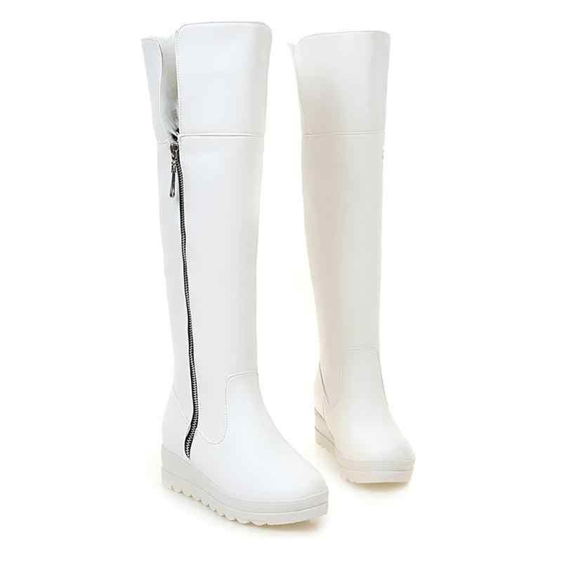 Asumer Diz yüksek çizmeler kış sıcak rahat kadınlar için uzun çizmeler platform ayakkabılar büyük boy 43 katı kar botları