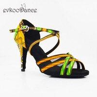 Evkoodance Africa Print Professional Zapatos De Baile Suede Leather Sole Heel 8.5cm Latin Dance Shoes using indoor Evkoo 566