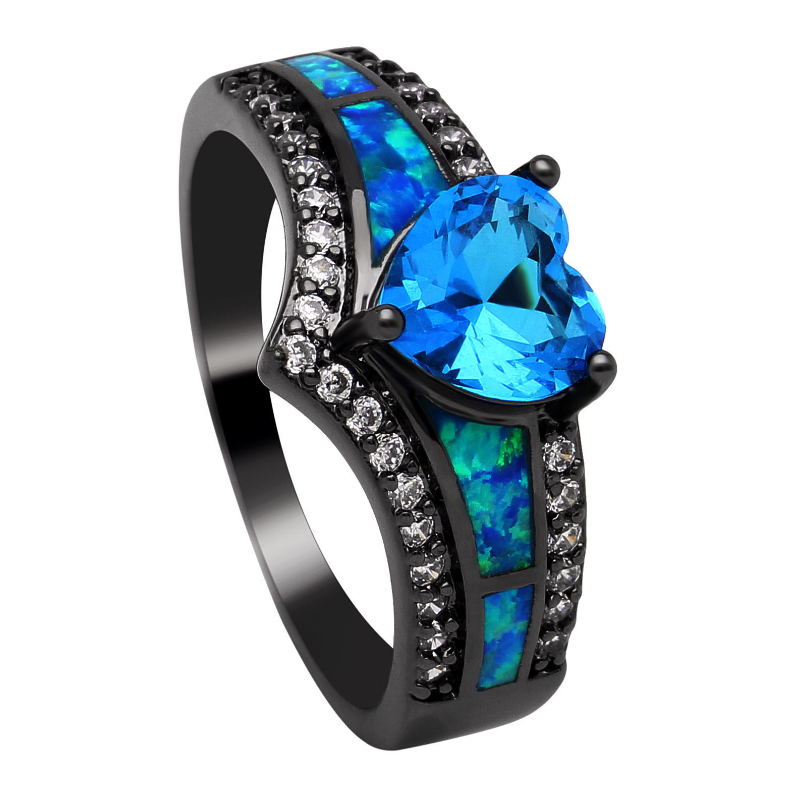 Black Plated Rainbow Blue Purple Stone Blue Opal Heart Rings for