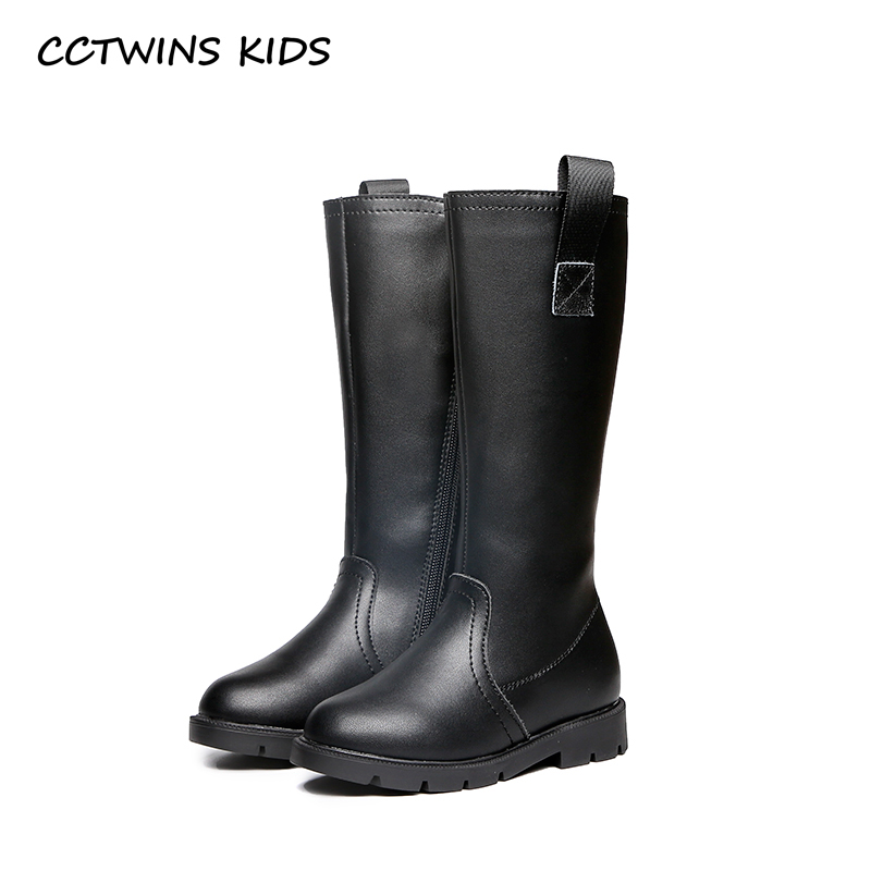 CCTWINS KIDS 2018 Autumn Girl Pu Leather Black Shoe Children Fashion Knee High Boot Baby Brand Boot Toddler H004 cctwins kids 2018 winter children brand black knee high boot baby pu leather flat girl fashion warm shoe toddler h057