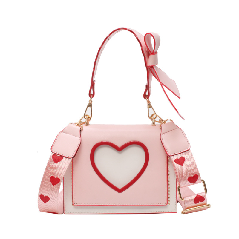 Womens Heart Sweet Lolita Small Square Pack Bowknot Shoulder Bag Crossbody Package Clutch Totes Black Pink White A397