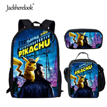 Jackherelook 2019 Hot Anime Pokemon Detective Pikachu 3PCS Set Schoolbags for Teen Students Boys Girls Cute Children Backpacks