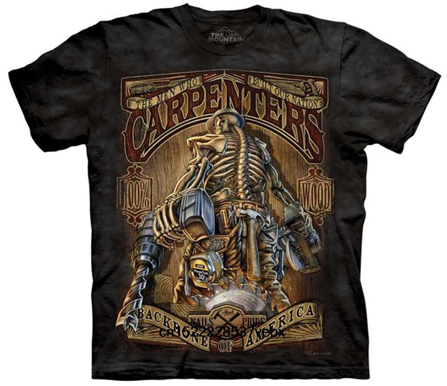 CARPENTERS BACKBONE OF AMERICA ADULT MEN SHORT SLEEVE T-SHIRT BALCK