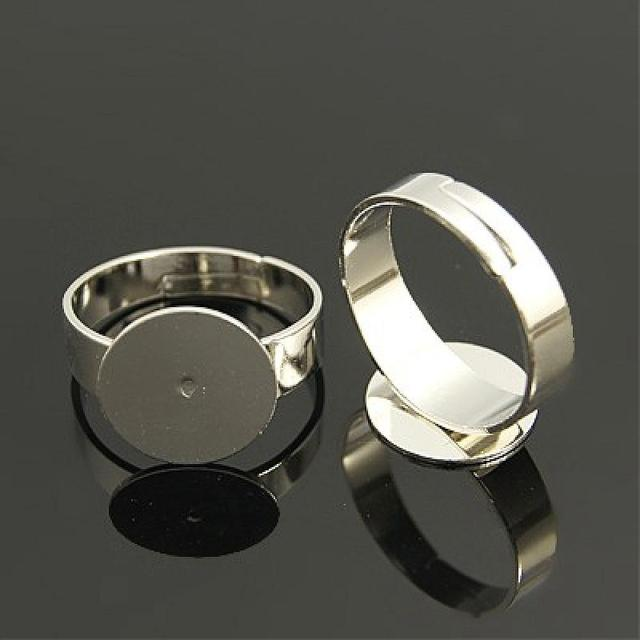 Brass Pad Ring Bases,  Lead Free,  Cadmium Free and Nickel Free,  Adjustable,  Platinum Color,  about 3~4.5mm wide