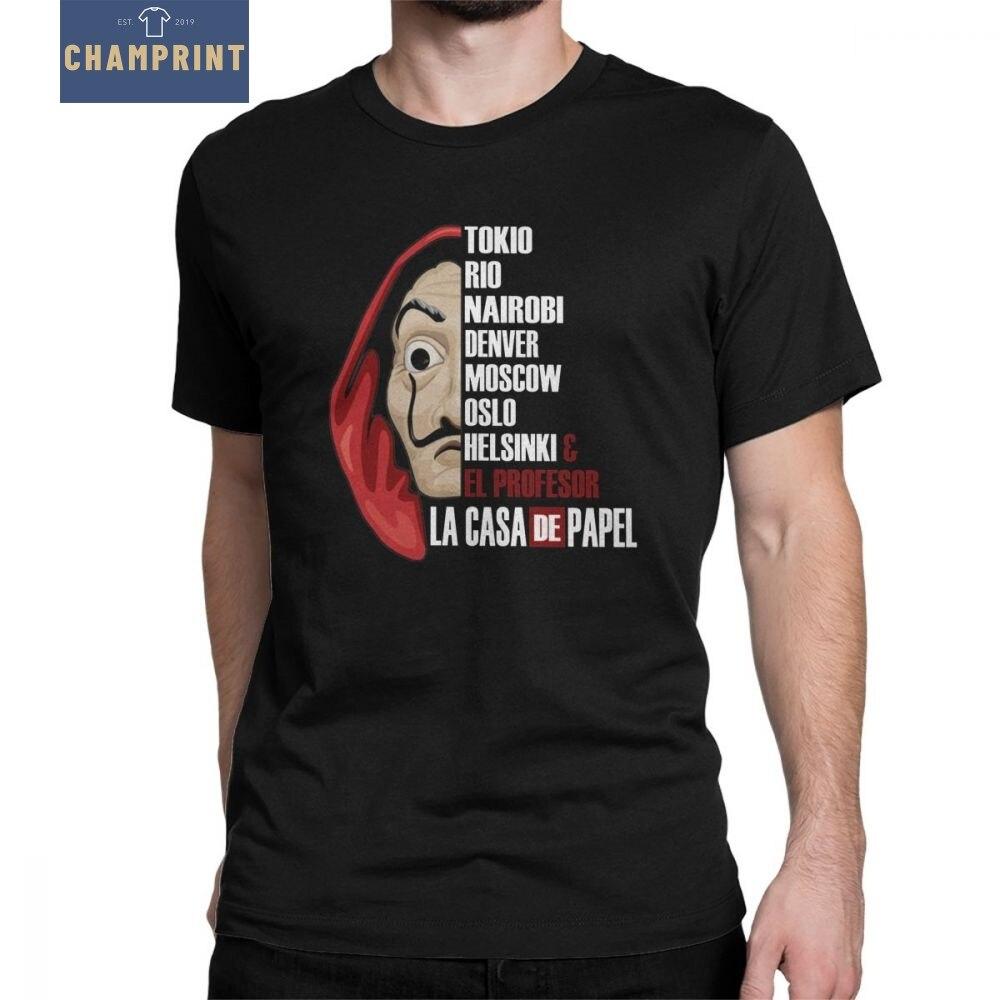 Los hombres De La Casa De Papel camiseta dinero robo TV serie cuello De Casa De Papel Tops De algodón 100% camisetas regalo T camisa