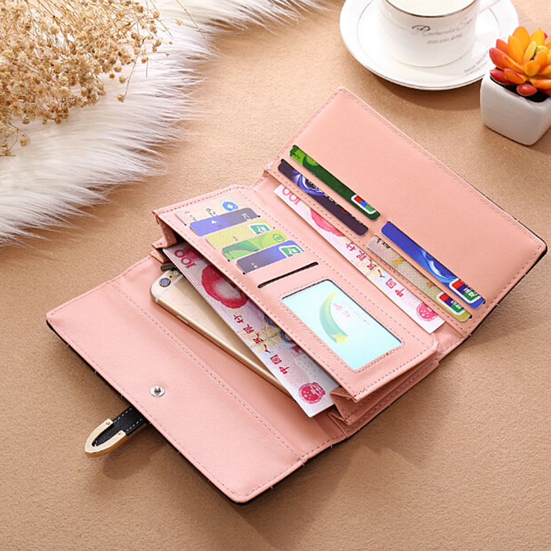 AOEO wallet female multifunctional long clutch Girls with zipper card holders cell phone bag ladies Pocket women wallets purse in Wallets from Luggage Bags