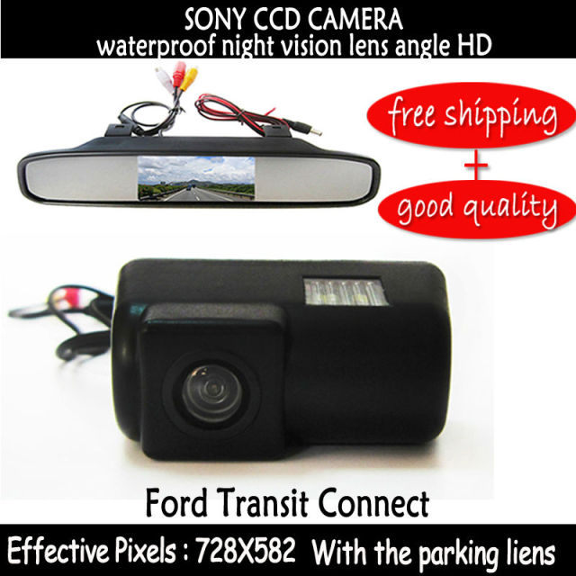 4.3 Inch Car Rear View Lcd car mirror monitor Parking Monitor with Special Car sony ccd Reverse Camera  for FORD TRANSIT CONNECT