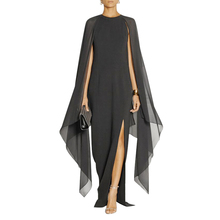 Black Arab Turkey font b Evening b font Gowns 2017 Feifei Sleeves Split Side Floor Length